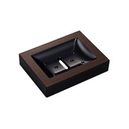 WOODY角型ソープディッシュ黒ウォルナット 14-451885